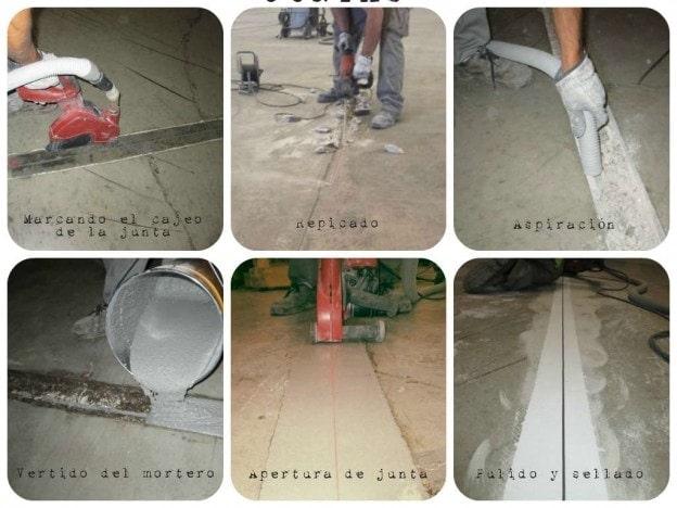 tratamiento en juntas daadas en pavimentos de hormign cajeado